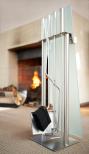 5 pc Fireplace Set, glass fron