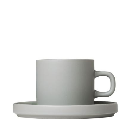 PILAR, Set med 2 kaffemuggar & fat, 4 delar Mirage Grey