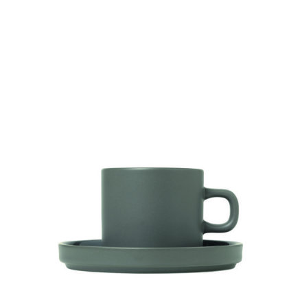 PILAR Set med två kaffekoppar & fat, 4 pcs, Pewter