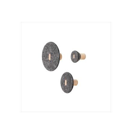 PELA Väggkrok Set/3, Dark Grey Melange